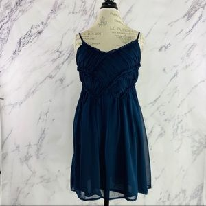 Maude Anthropologie Chiffon Cocktail Dress Navy